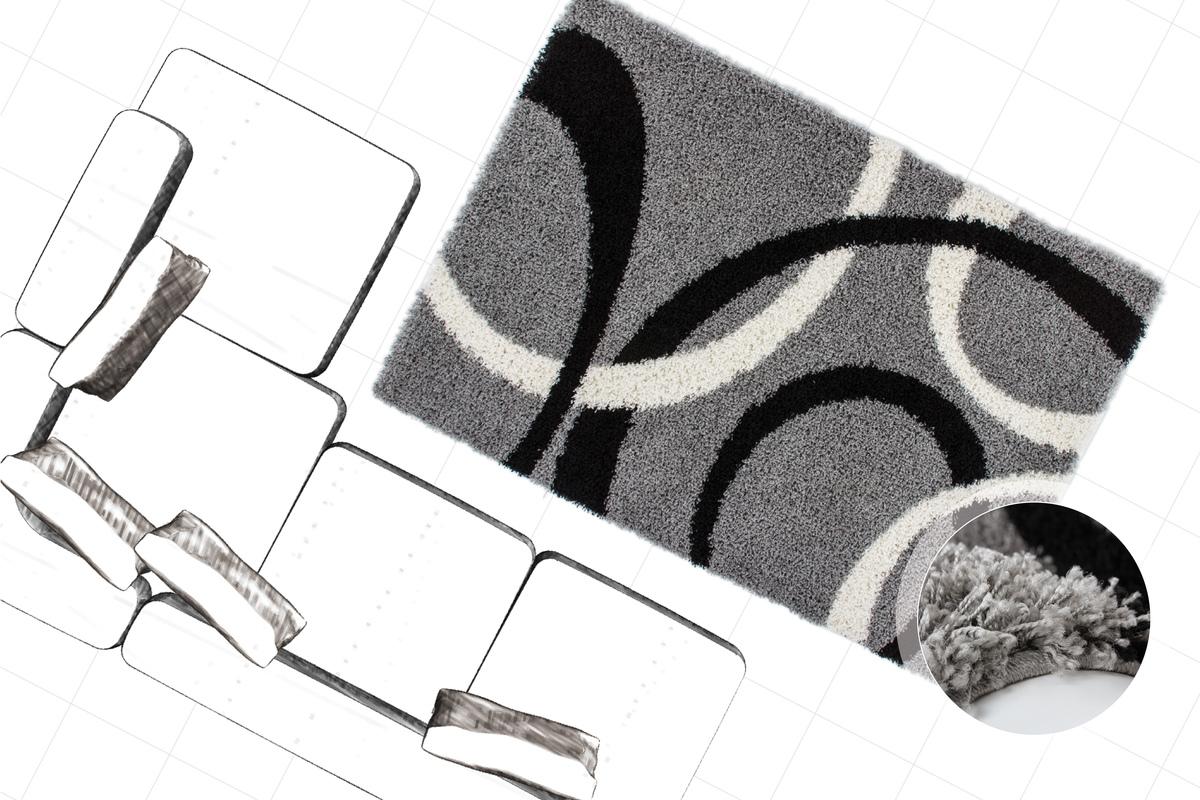 shaggy poils longs neuf tapis tapis moderne gris noir. Black Bedroom Furniture Sets. Home Design Ideas