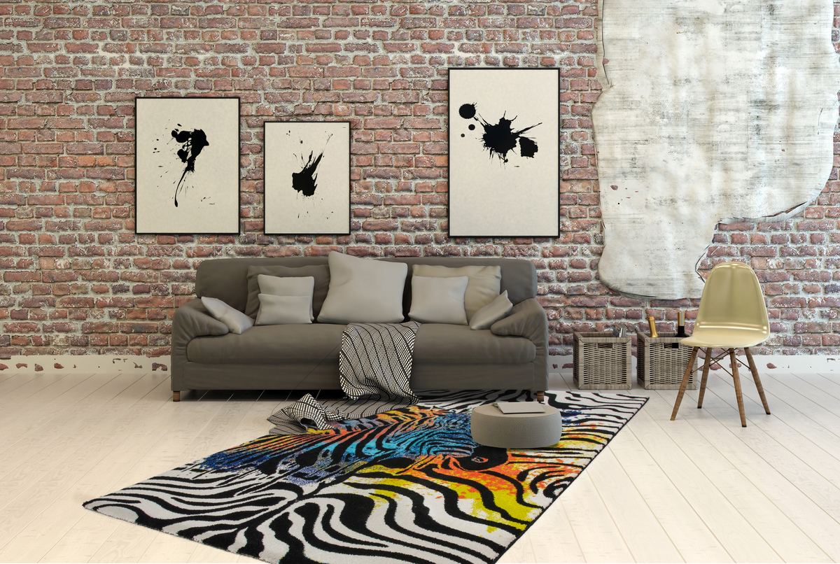 flachflor teppiche modern zebra splash look teppich schwarz wei sale ebay. Black Bedroom Furniture Sets. Home Design Ideas